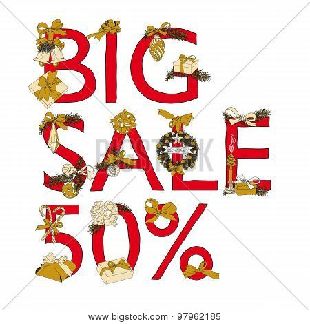 Big Sale Christmas illustration with Sale 50 percent text.
