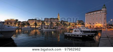 Town of Split, Croatia, Diocletian palace night view from the seaside