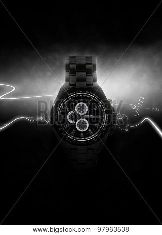 Luxury Design Black Wristwatch Lit Dramatically from Side on Dark Background with White Light Rays. 3d Rendering.