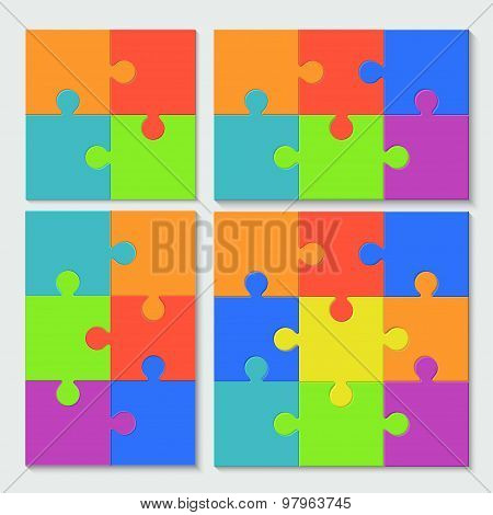vector modern puzzele set with shadow