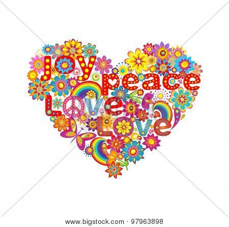 Heart shape with colorful flowers and hippie symbolic