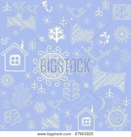 New Years blue wallpaper with winter print