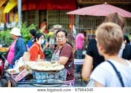 Chiang Mai, Thailand  - November 15, 2014: Asian Woman Selling Meat, Beef, Pork And Chicken At Stree