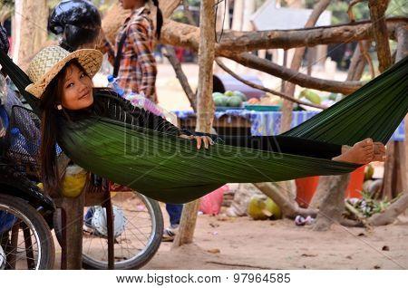 Angkor Wat - Cambodia - February 5 2015 Young Woman Lying In A Hammock In Cambodia Angkor Wat