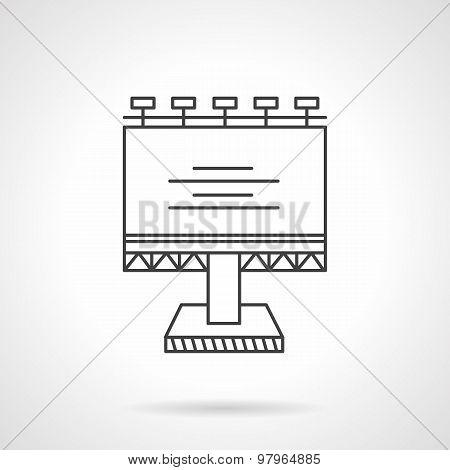 Illuminated billboard line vector icon