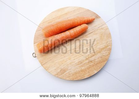 fresh carrot on the white background