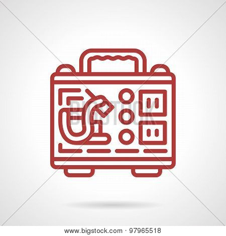 Tattoo kit red line vector icon
