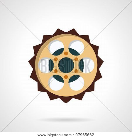 Chain sprocket flat color vector icon