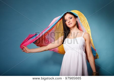 Summer Woman With Colored Shawl On Blue