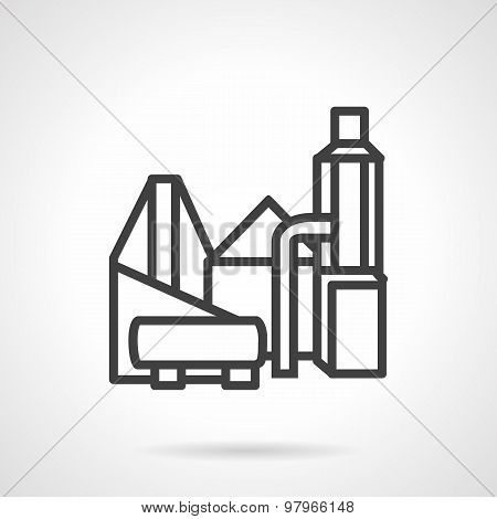 Industrial building flat line vector icon