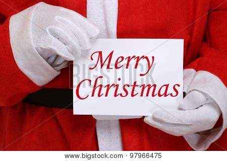 Santa Claus Holding Merry Christmas Card