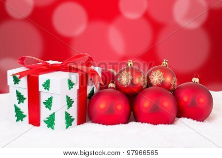Christmas Card Gift Decoration With Gifts And Red Balls