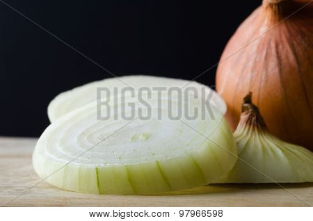 Sliced Onions Close Up With Black Background