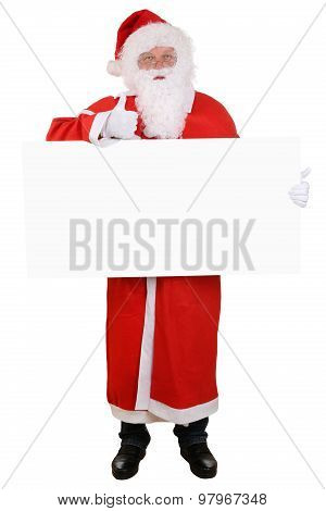 Santa Claus Holding Empty Sign Thumbs Up On Christmas Super Good