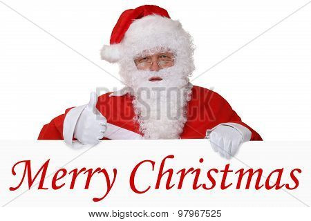 Merry Christmas Card With Santa Claus Showing Thumbs Up