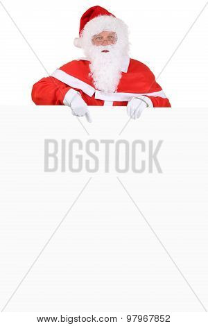 Santa Claus Showing On Christmas At Empty Banner