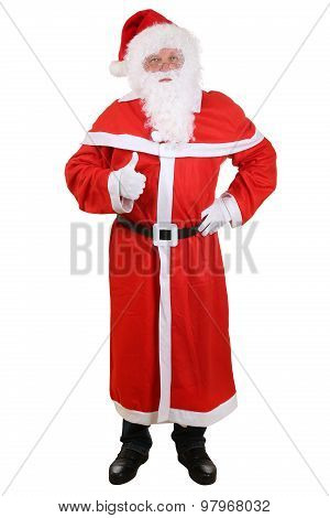 Santa Claus Full Length Portrait Showing Thumbs Up On Christmas