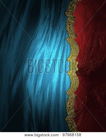 Abstract Blue Background With Red Edge And Gold Ribbon. Element For Design. Template For Design. Cop