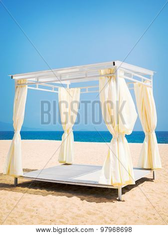 Square gazebo on a tropical beach