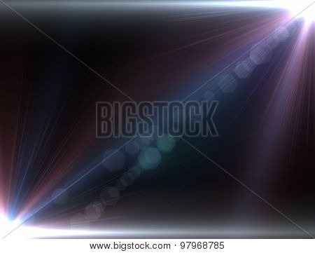 Design Template - Red Star, Sun With Lens Flare. Rays Background.
