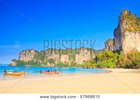 Longtail boats at the west Railay beach