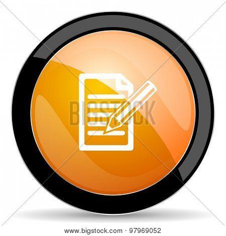 subscribe orange icon write sign