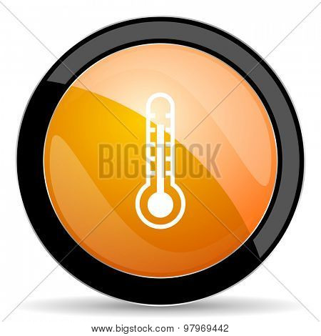 thermometer orange icon temperature sign