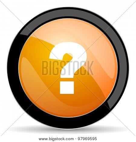 question mark orange icon ask sign