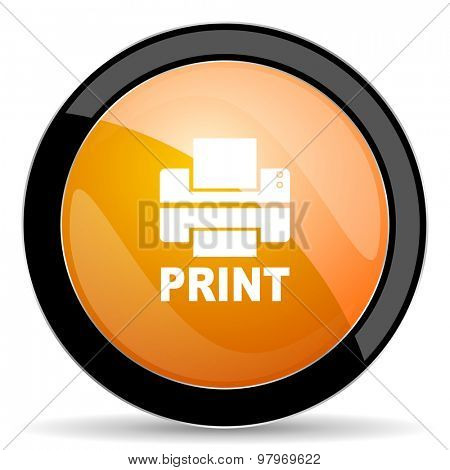 printer orange icon print sign