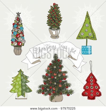 Vector illustration set with christmas trees.