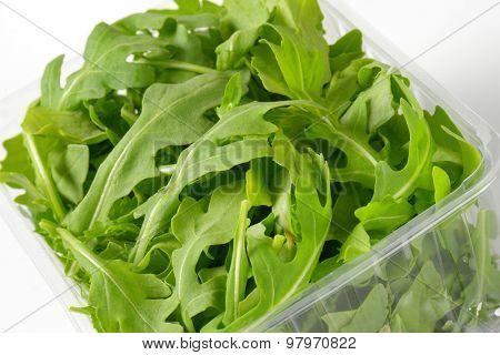 close up of fresh arugula package
