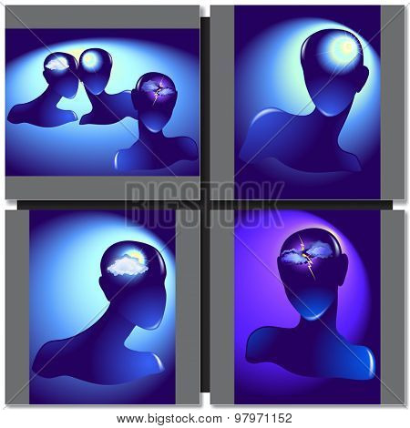 Silhouette of a female head vector illustration with different moods
