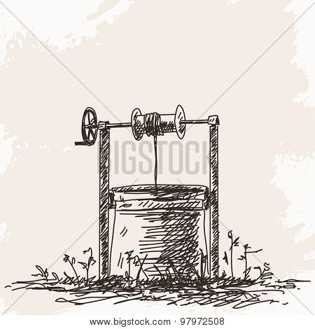 Sketch of water well Hand drawn illustration