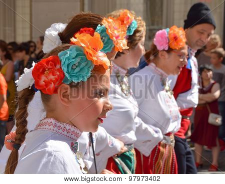 Bulgarian folk dancer