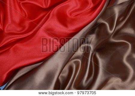 Brown And Red Silk Cloth Of Wavy Abstract Backgrounds