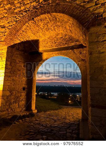 Small gate in Kalemegdan fortress walls at twilight, Belgrade