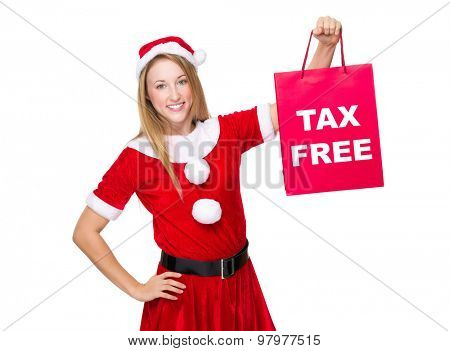 Xmas girl hold shopping bag with tax free