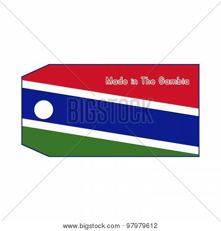 The Gambia Flag On Price Tag With Word Made In The Gambia Isolated On White Background