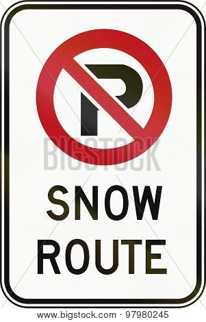 No Parking - Snow Route In Canada