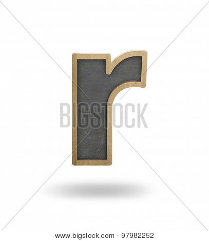 Black blank letter r shape blackboard