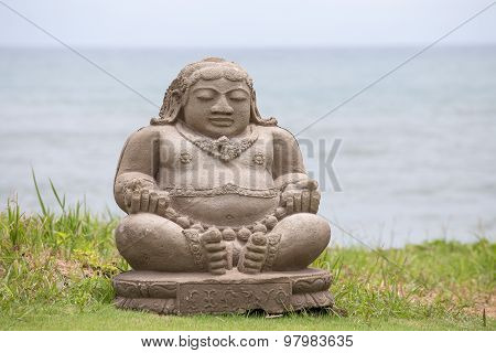 Traditional Stone Sculpture On The Beach In Kuta, Bali, Indonesia