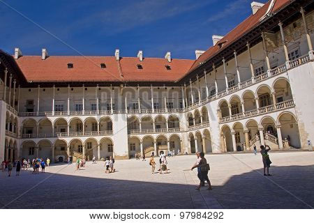 Krakow, Poland - August 1, 2015: The Courtyard Of The Wawel On 1