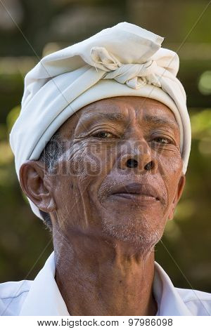 Portrait Man In Bali Island. Indonesia