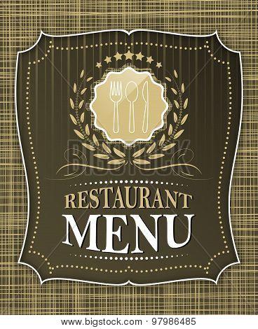 Restaurant menu cover design in vintage style, vector illustration