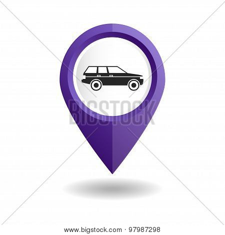 Violet map pointer with a car icon. GPS location symbol of a car shop.