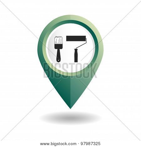 Green map pointer with tools icons. GPS location symbol.