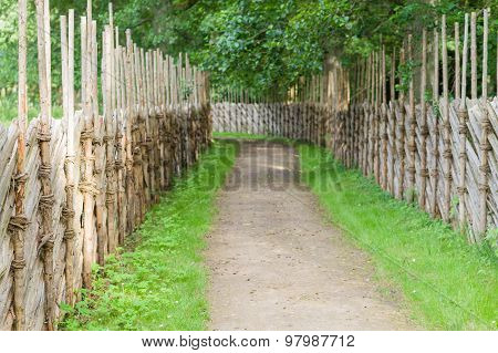 Winding Walkway Between Decorative Wooden Hedges, Blurred Countryside View