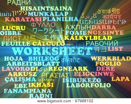 Background concept wordcloud multilanguage international many language illustration of worksheet glowing light