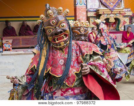 Tibetan Buddhist Lamas Perform A Ritual Dance In The Monastery Of Lamayuru, Ladakh, India