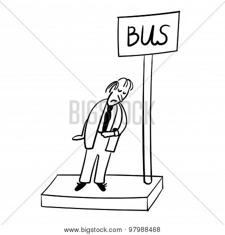a man at the bus stop comic illustration